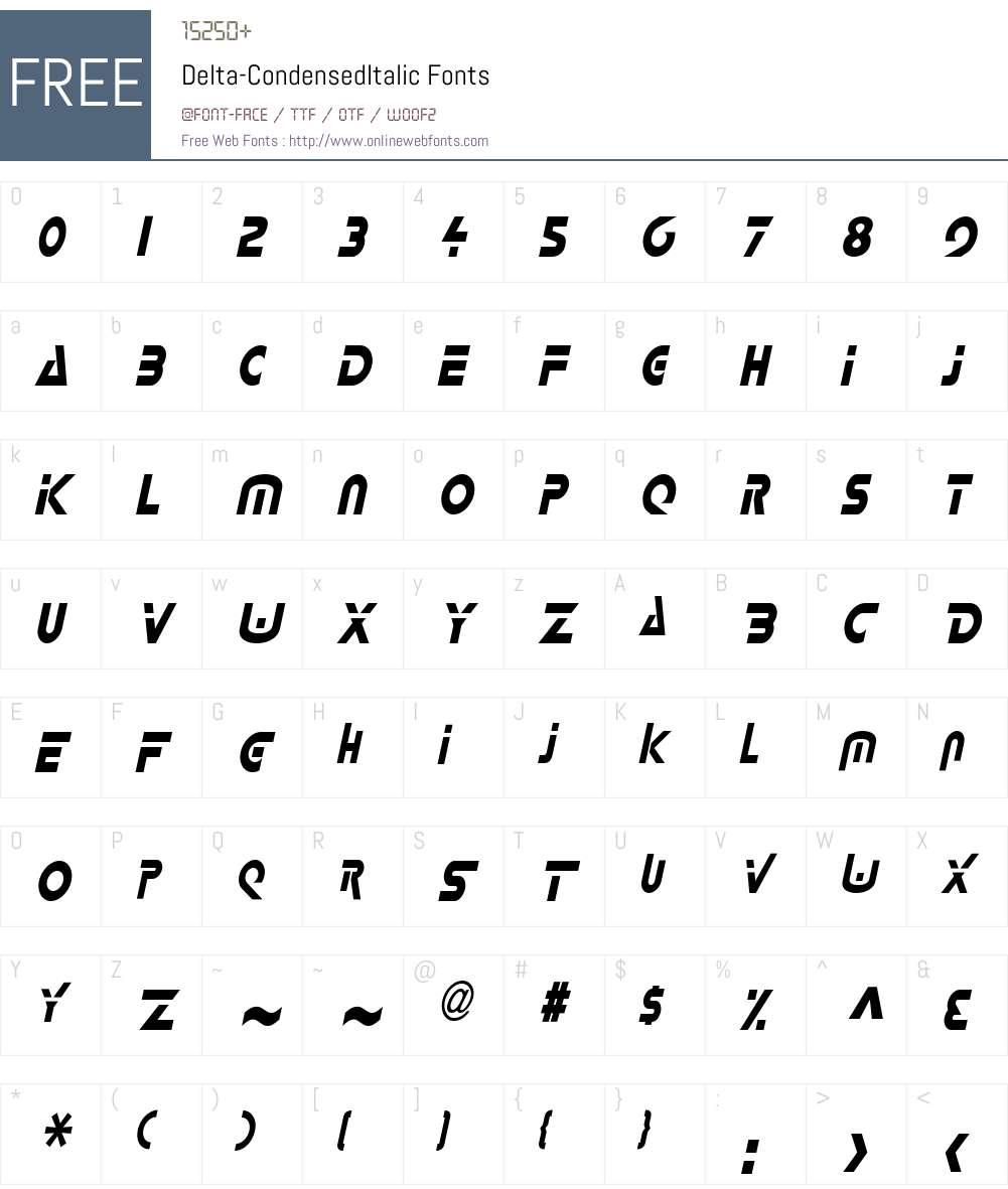 Delta-Condensed Font Screenshots
