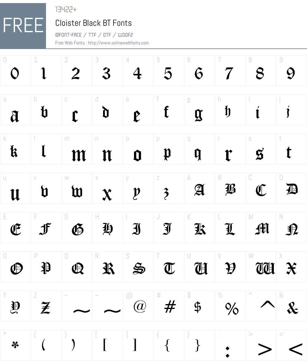 CloisterBlack BT Font Screenshots