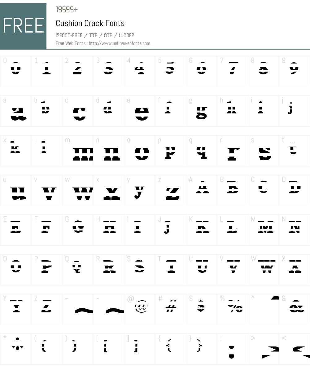 Cushion Crack Font Screenshots