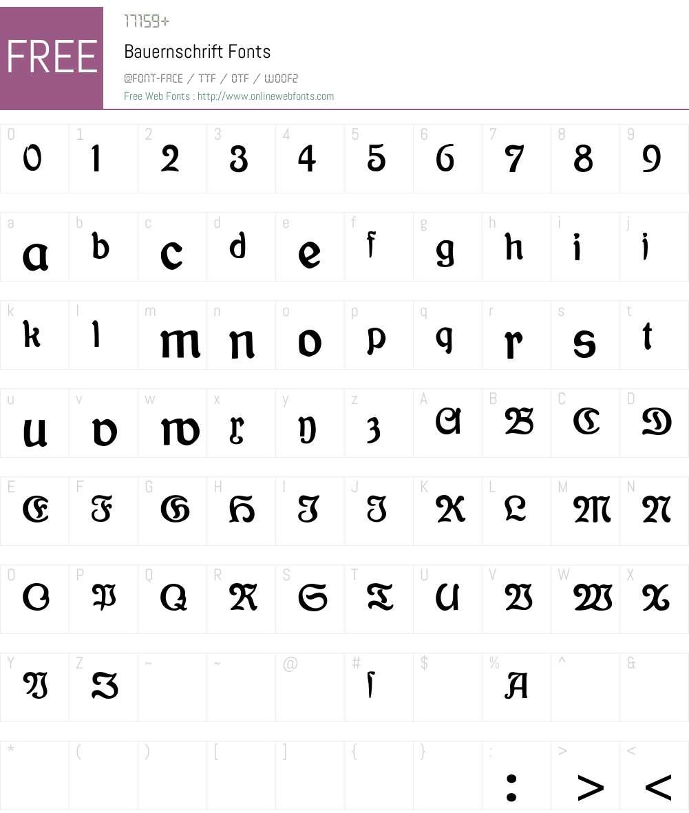 Bauernschrift Font Screenshots