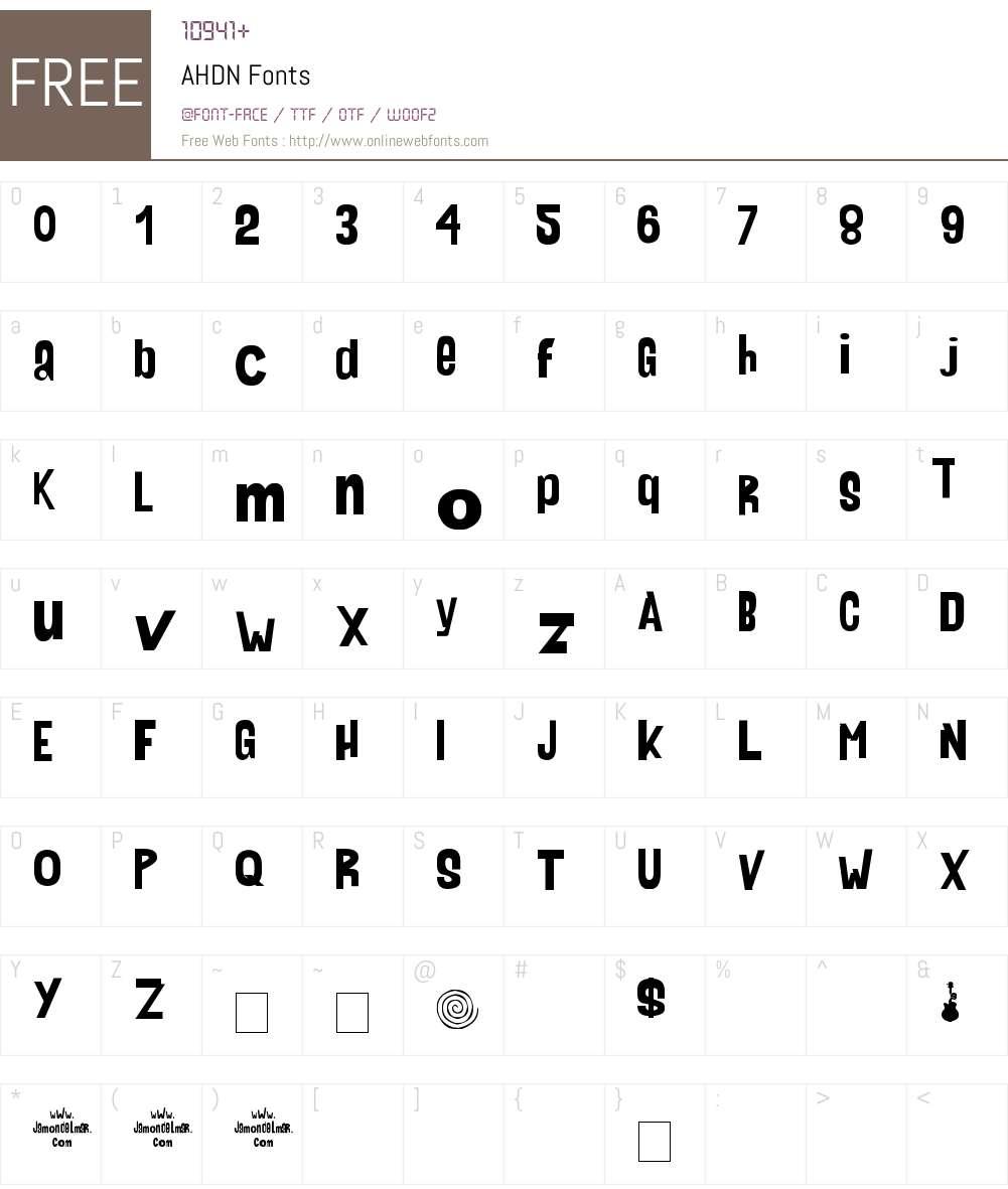 AHDN Font Screenshots