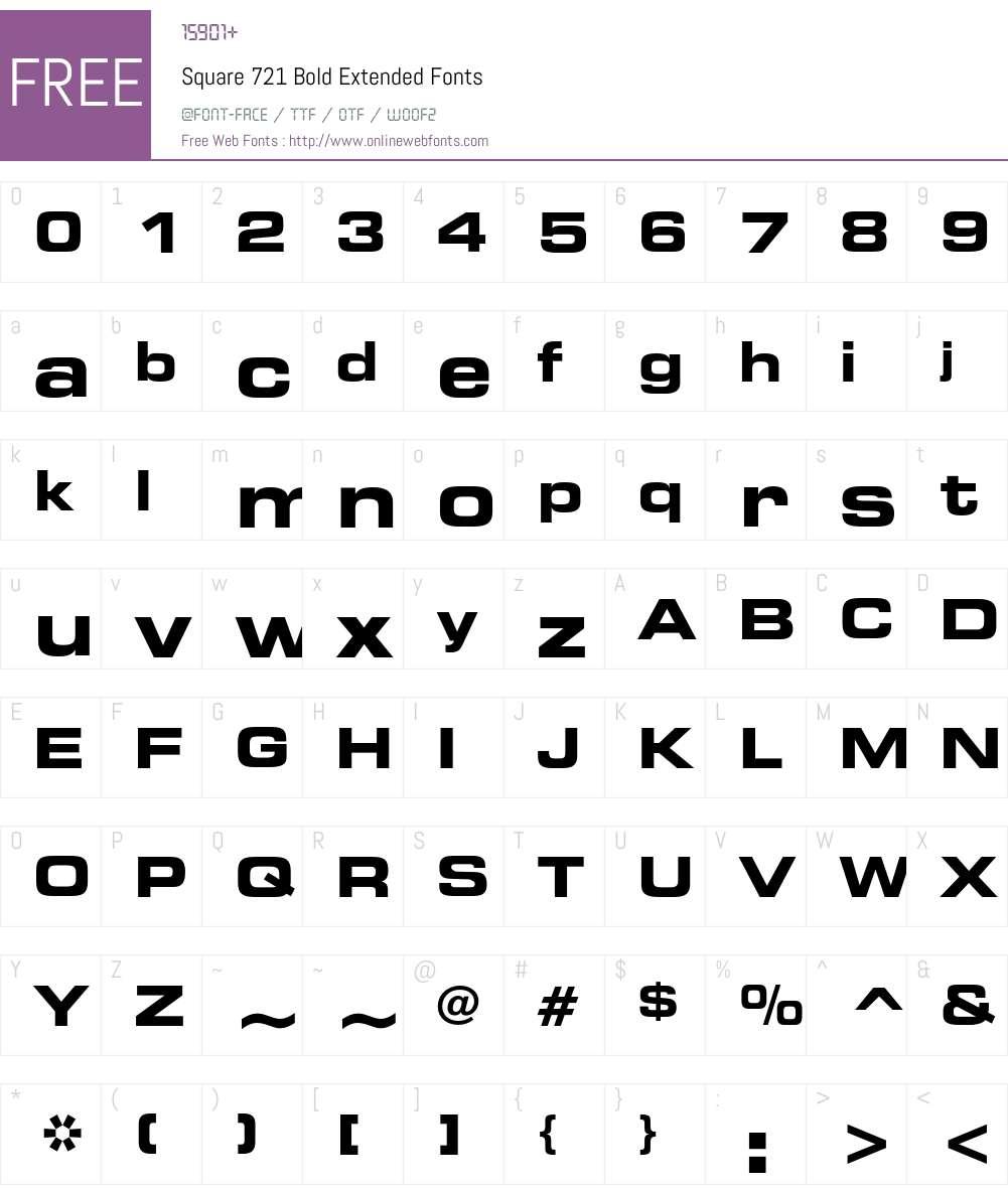 Square 721 Font Screenshots