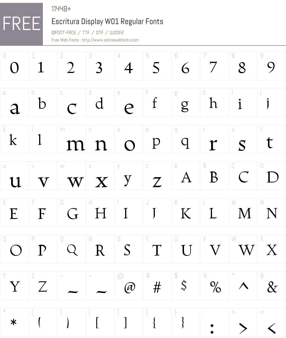 EscrituraDisplayW01-Regular Font Screenshots