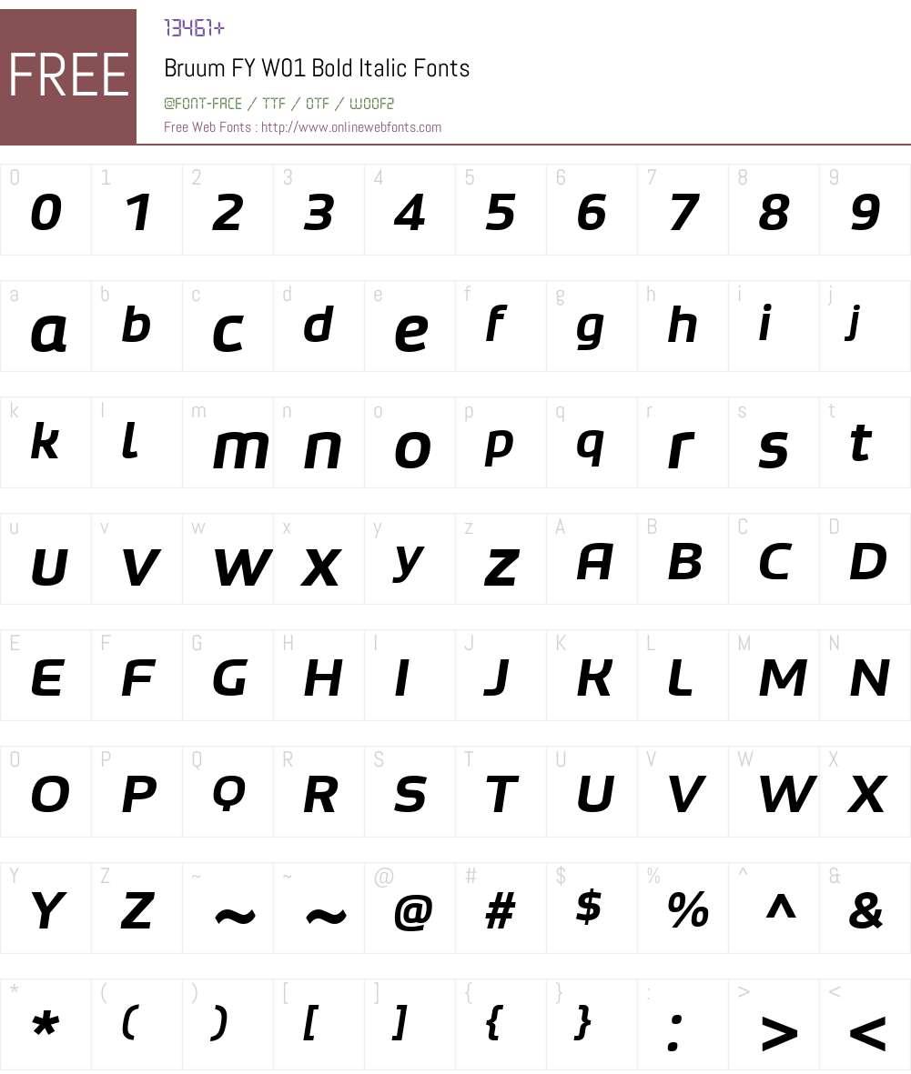 BruumFYW01-BoldItalic Font Screenshots