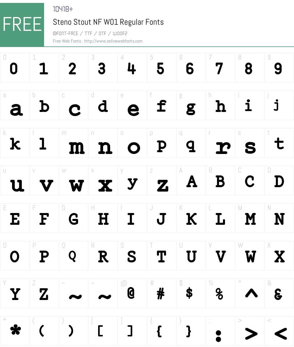 StenoStoutNFW01-Regular Font Screenshots