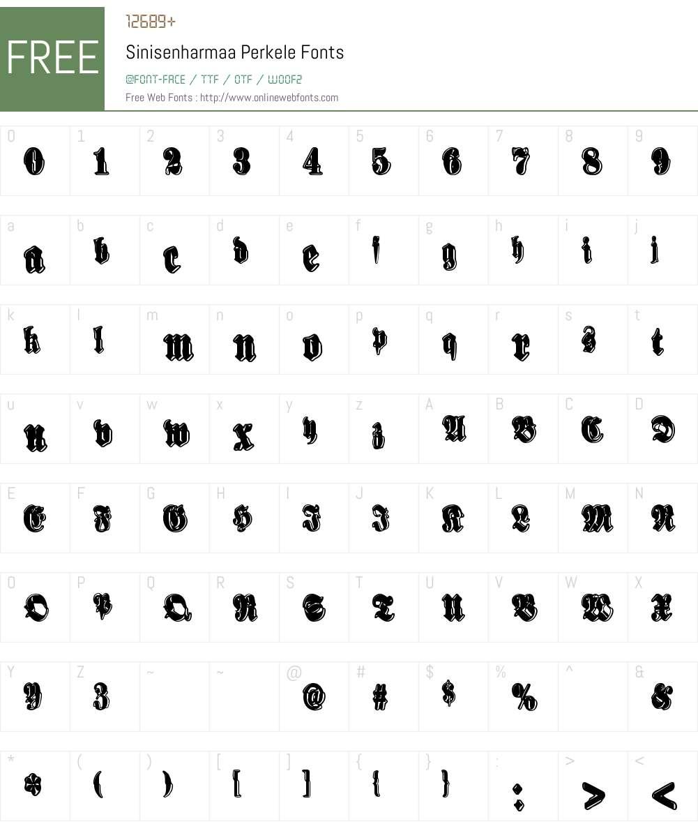 Sinisenharmaa Perkele Font Screenshots
