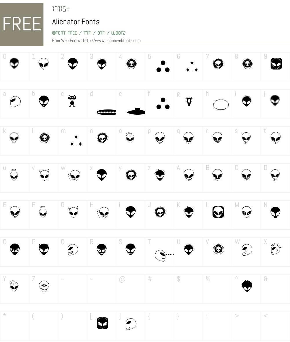 Alienator Font Screenshots