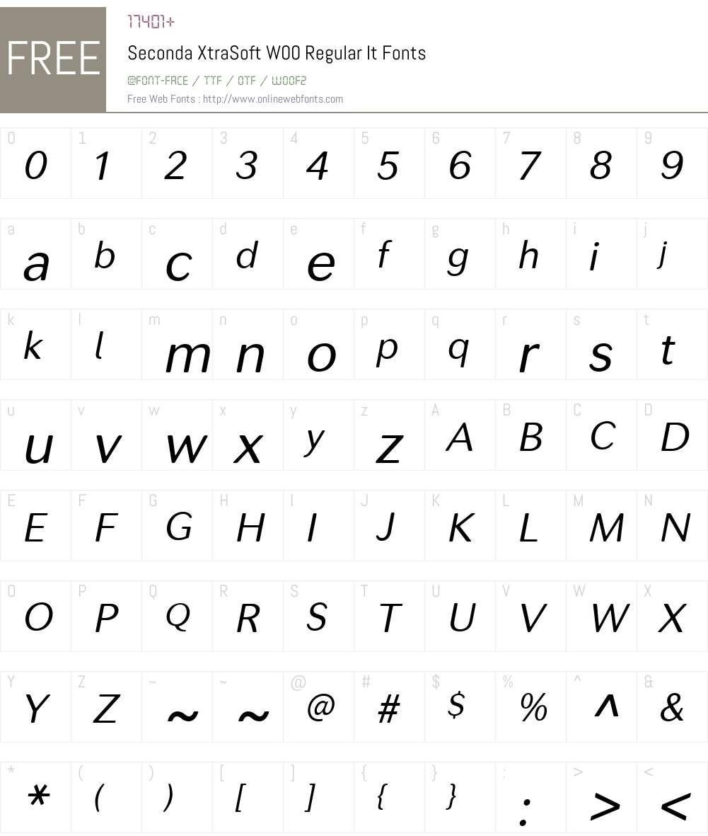SecondaXtraSoftW00-RegIt Font Screenshots