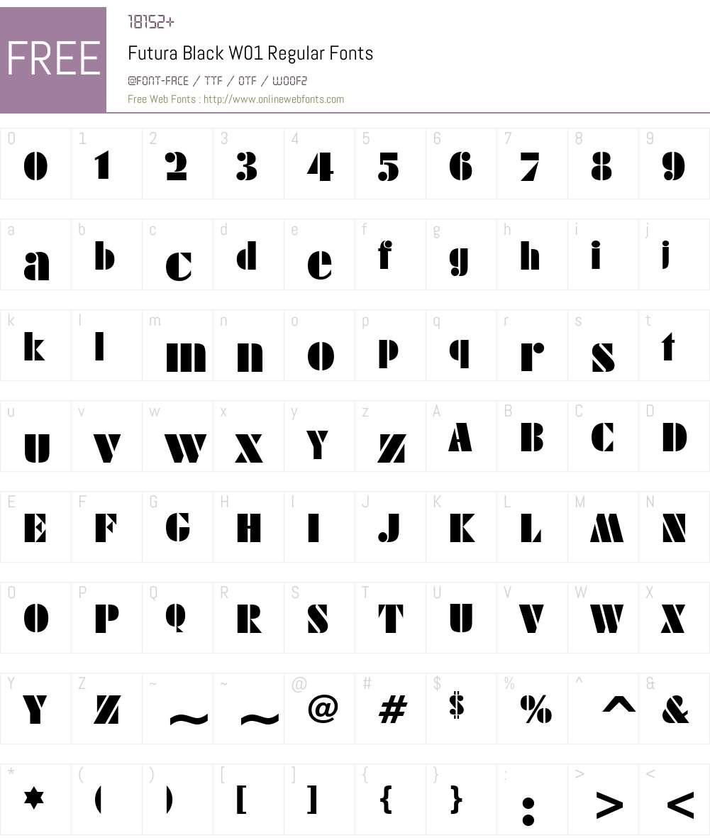 FuturaBlackW01-Regular Font Screenshots