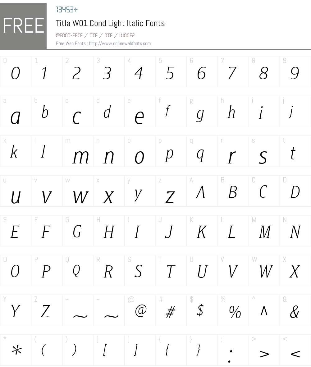 TitlaW01-CondLightItalic Font Screenshots
