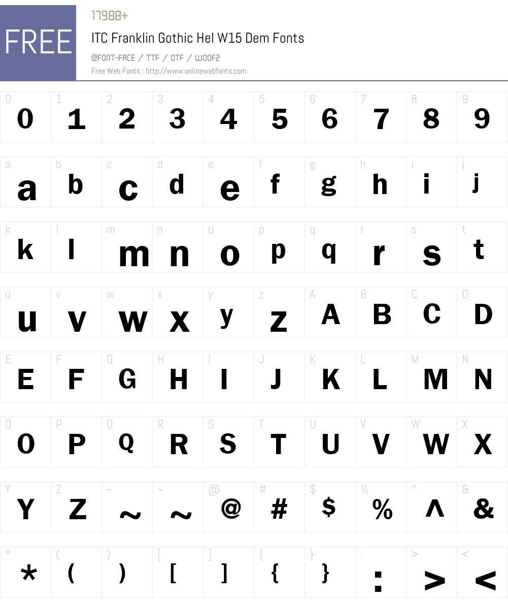 ITCFranklinGothicHelW15-Dem Font Screenshots