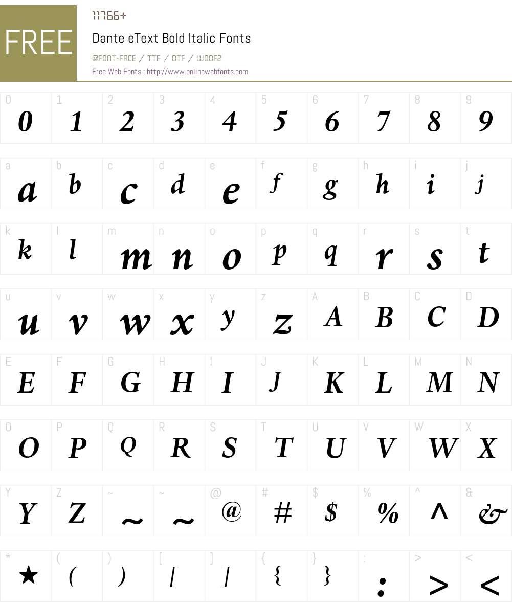 DanteeText-BoldItalic Font Screenshots