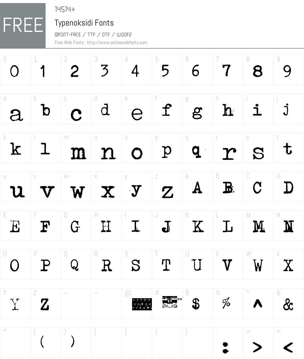 Typenoksidi Font Screenshots