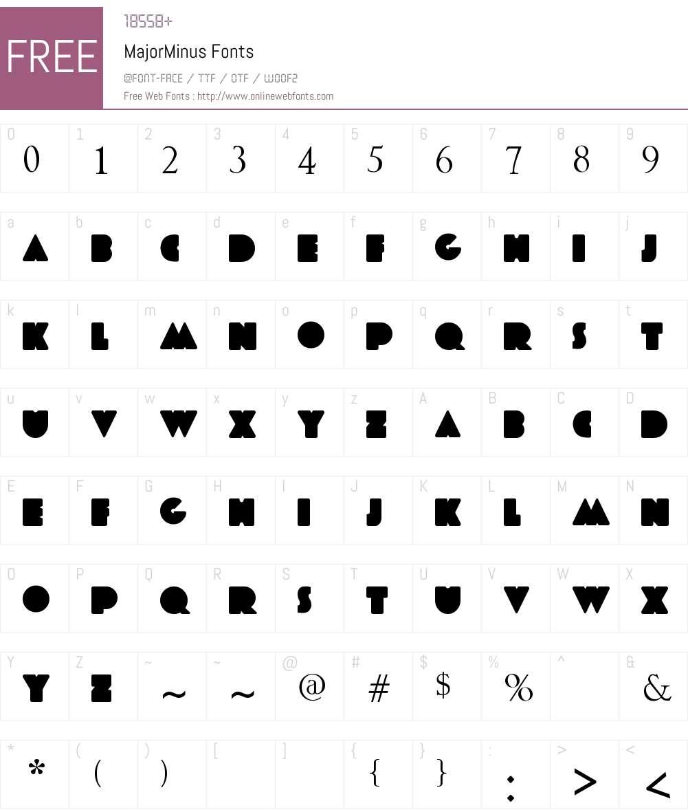 MajorMinus Font Screenshots
