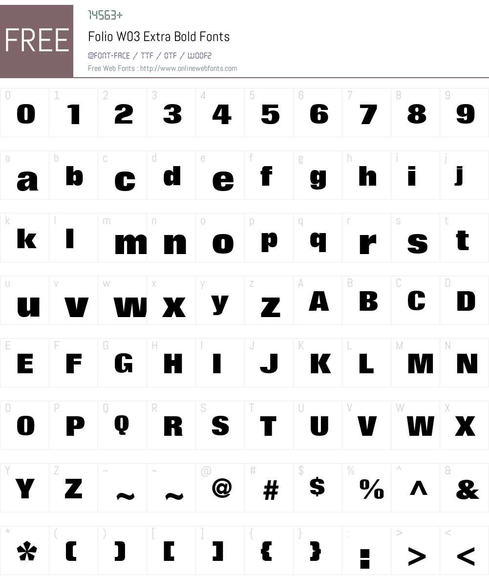 Folio Font Screenshots