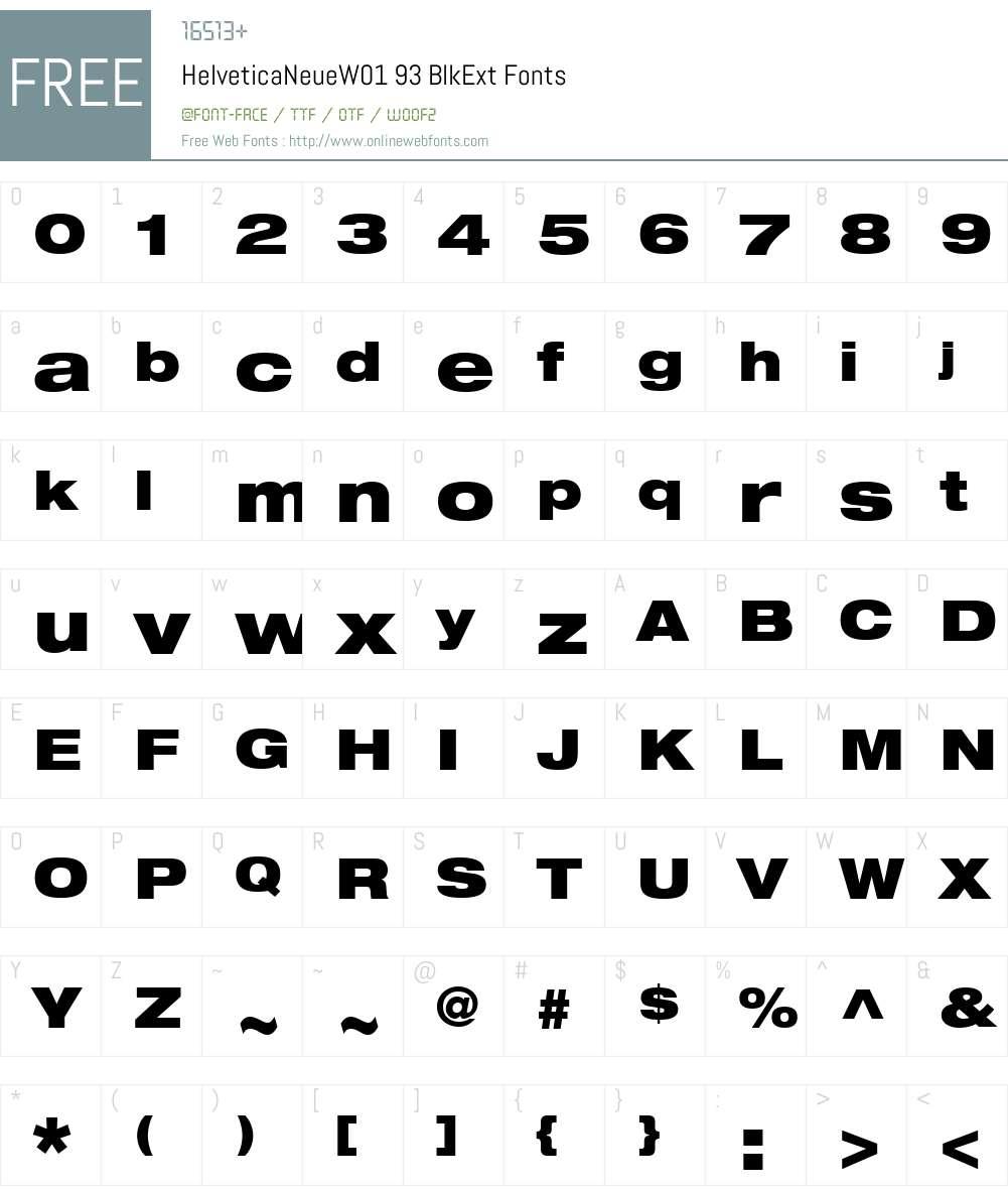 HelveticaNeueW01-BlkExt Font Screenshots