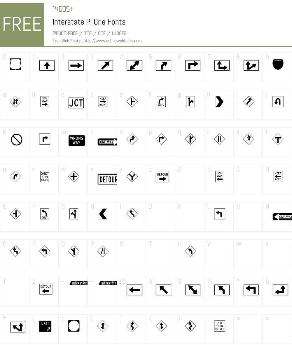 Interstate Pi One Font Screenshots