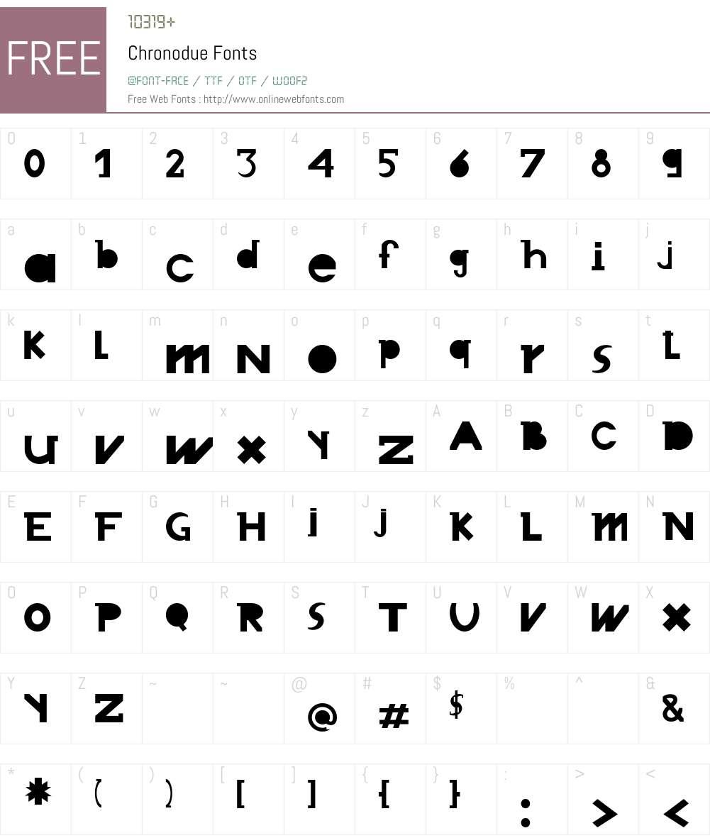 Chronodue Font Screenshots