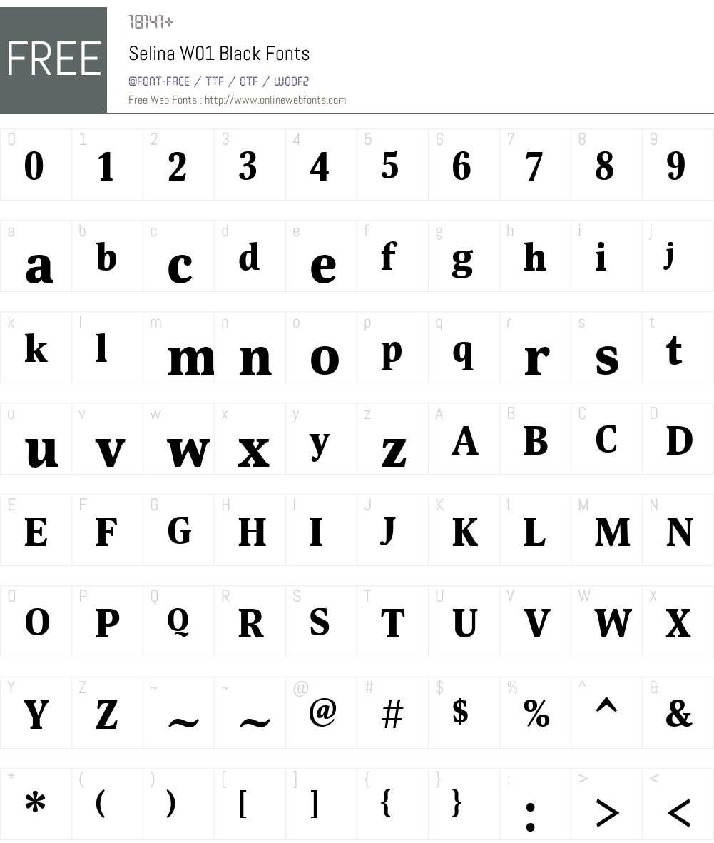 SelinaW01-Black Font Screenshots