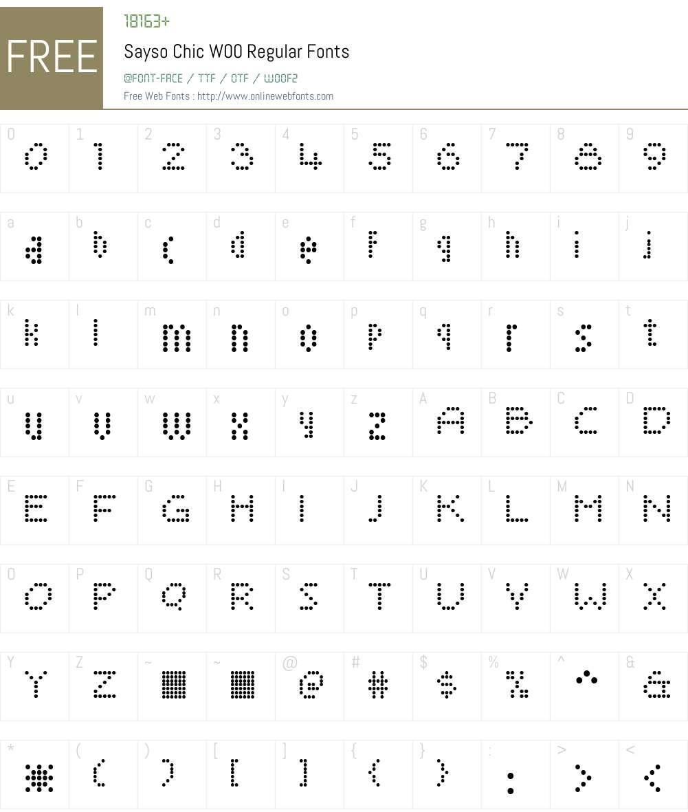 SaysoChicW00-Regular Font Screenshots