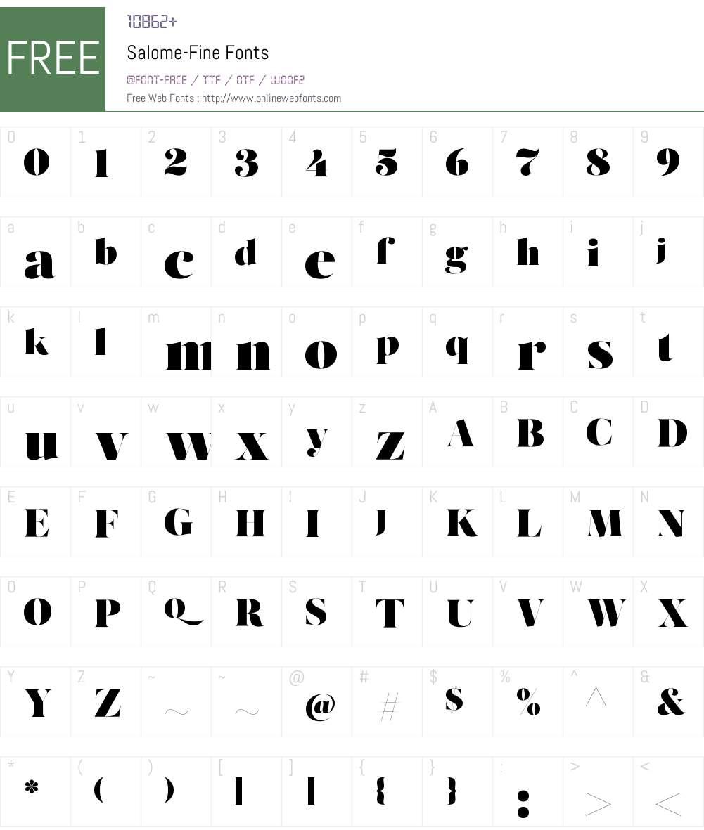 Salome Fine Font Screenshots
