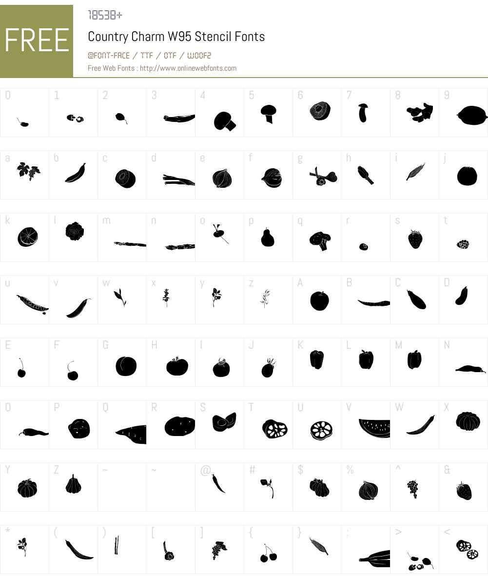 CountryCharmW95-Stencil Font Screenshots