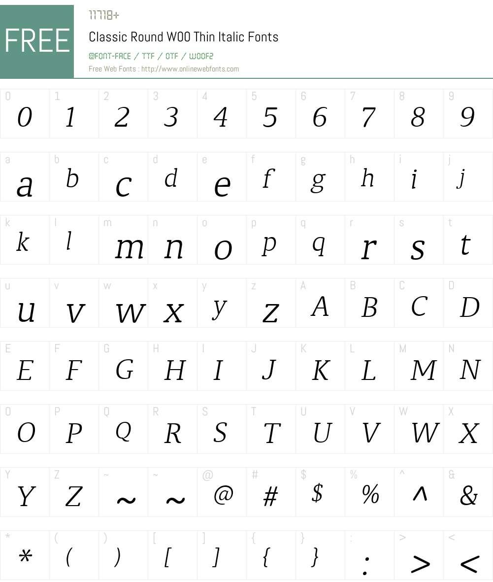 ClassicRoundW00-ThinItalic Font Screenshots