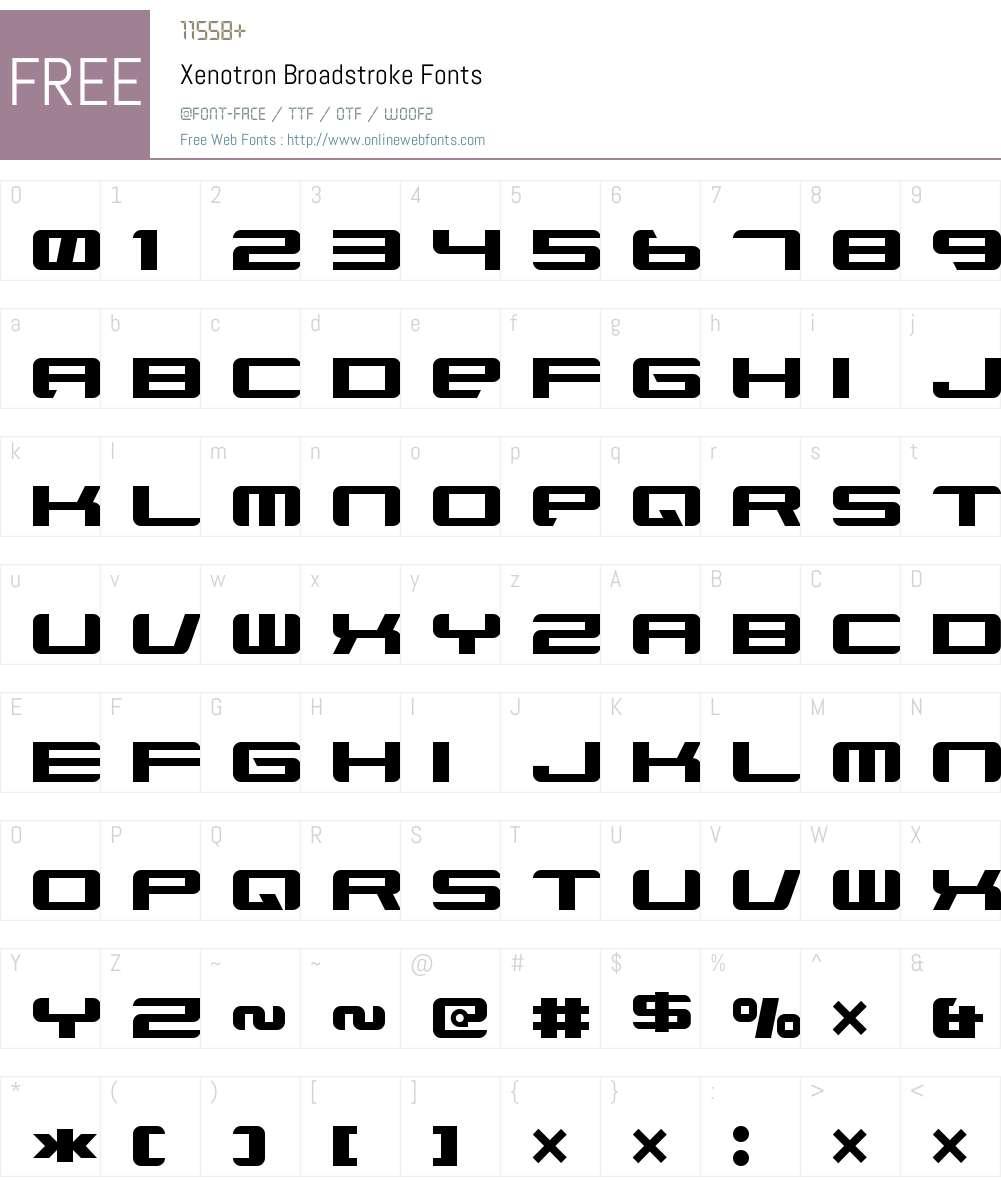 Xenotron Broadstroke Font Screenshots
