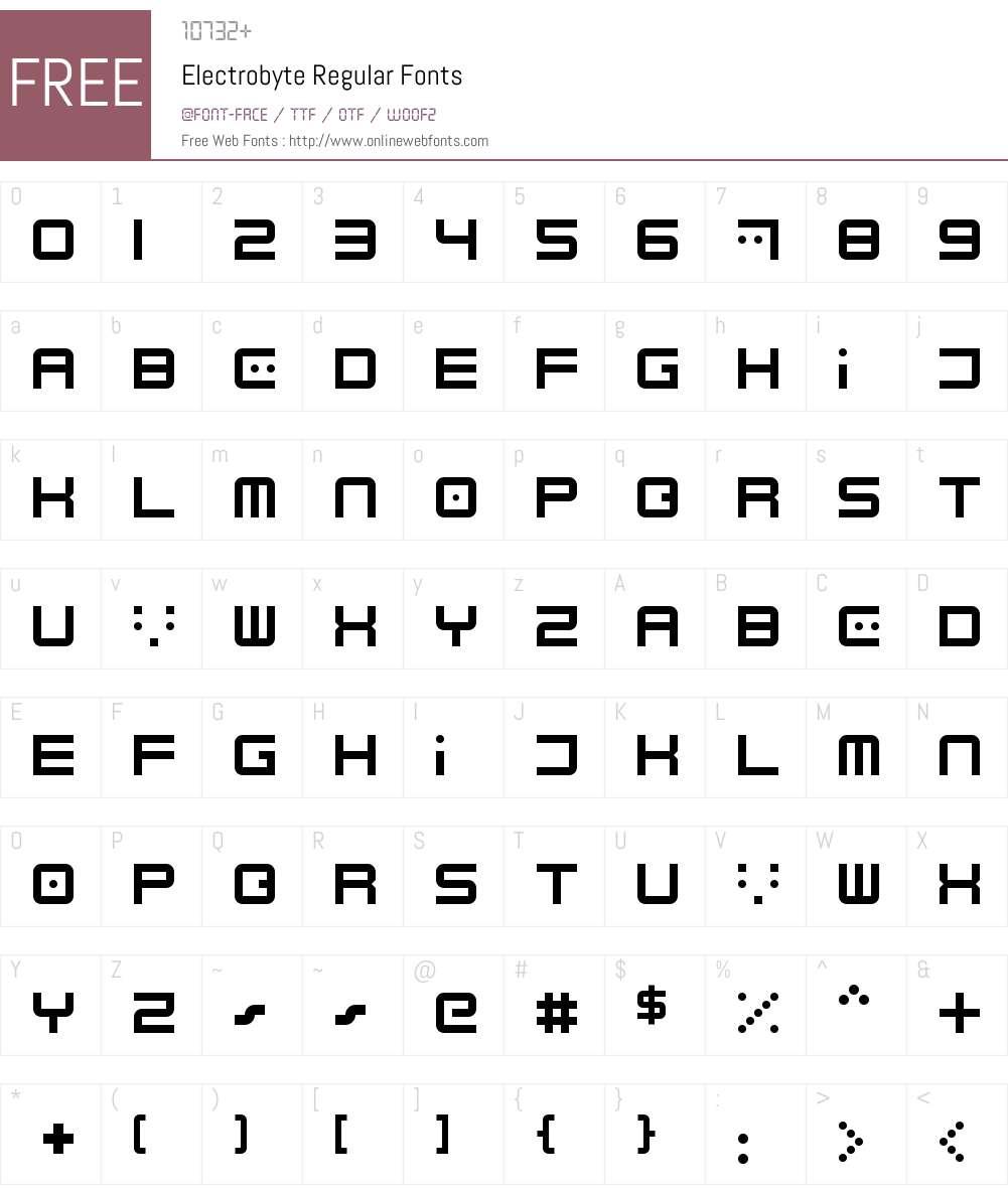 Electrobyte Font Screenshots