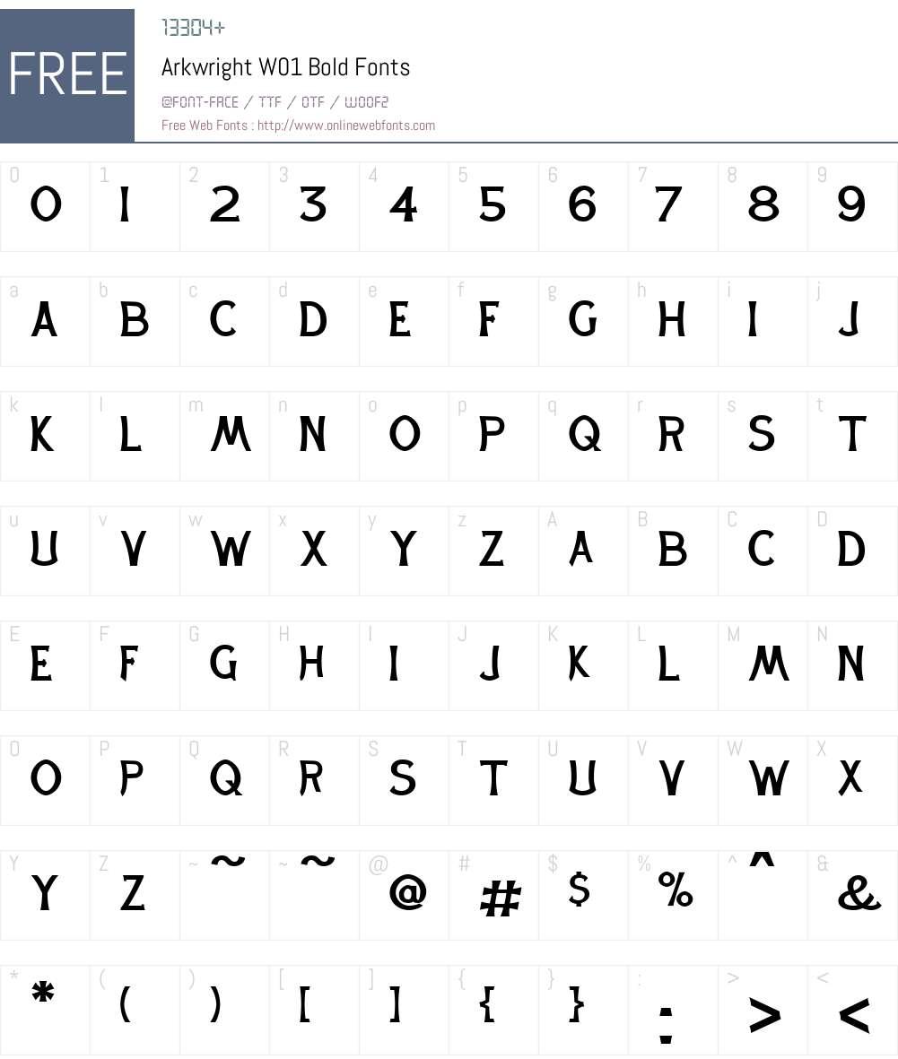 ArkwrightW01-Bold Font Screenshots