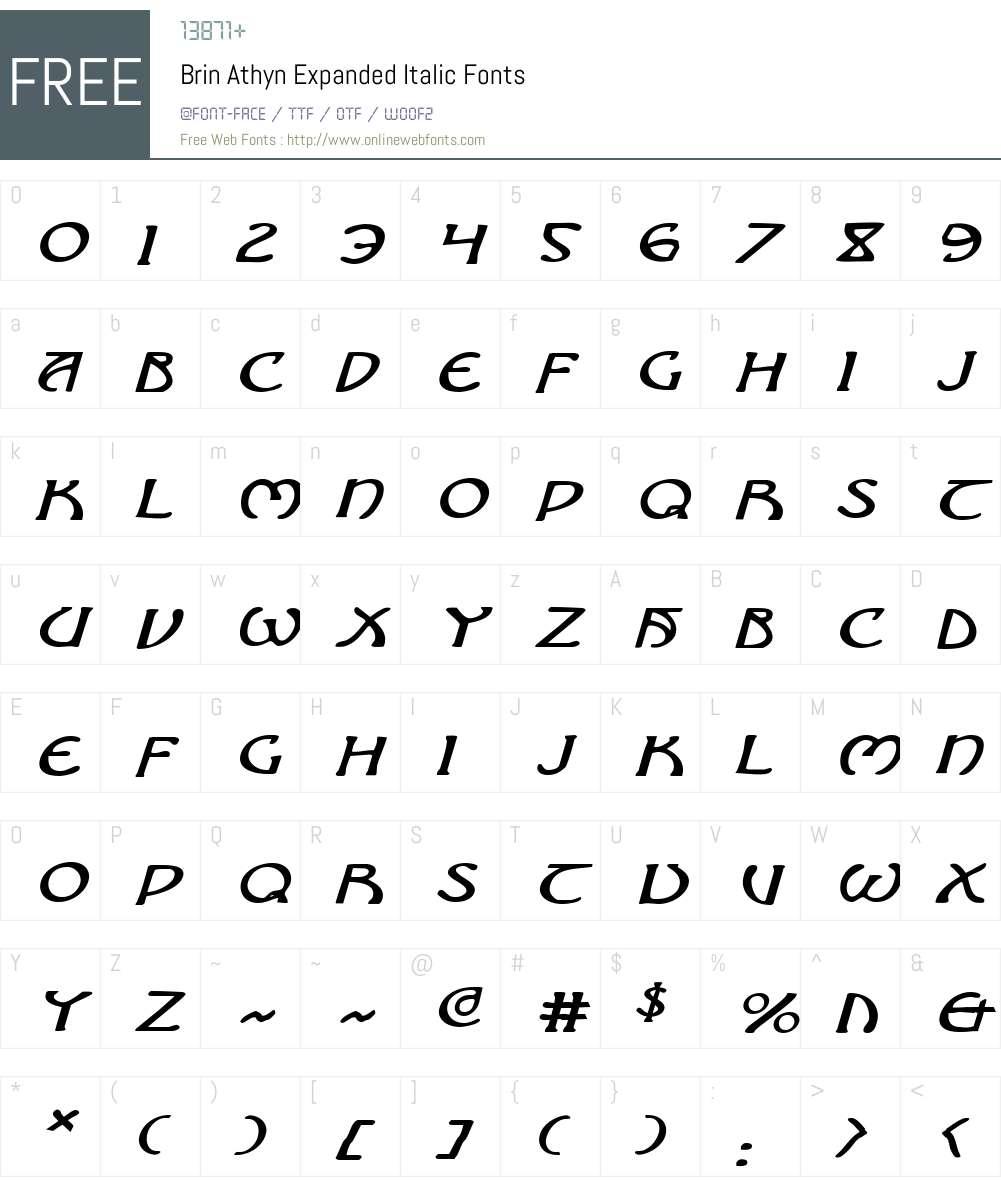 Brin Athyn Expanded Italic Font Screenshots