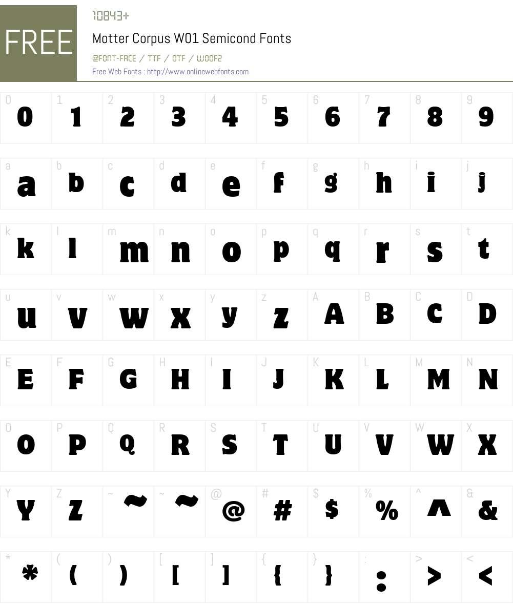 MotterCorpusW01-Semicond Font Screenshots