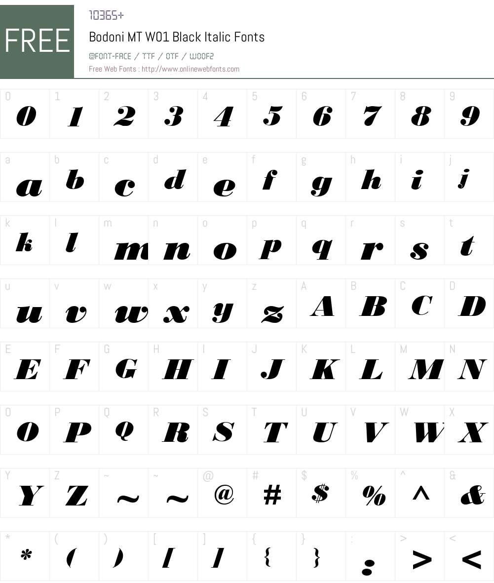 BodoniMTW01-BlackItalic Font Screenshots