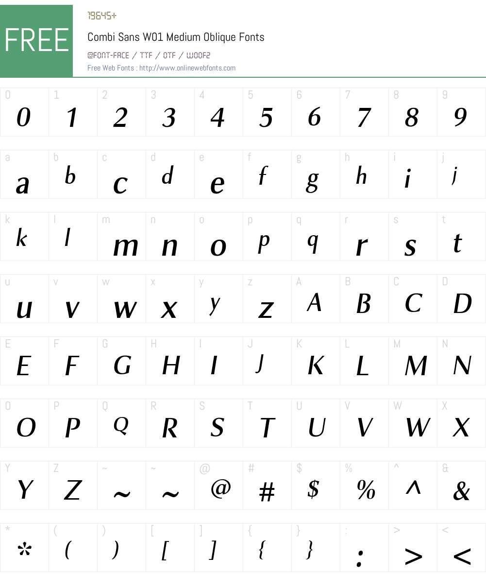 CombiSansW01-MediumOblique Font Screenshots