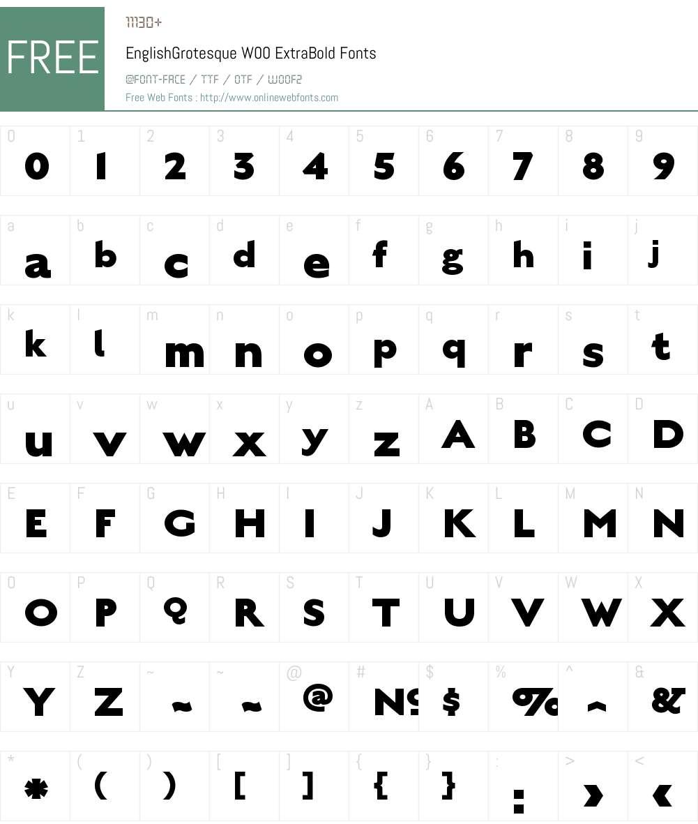 EnglishGrotesqueW00-XBold Font Screenshots