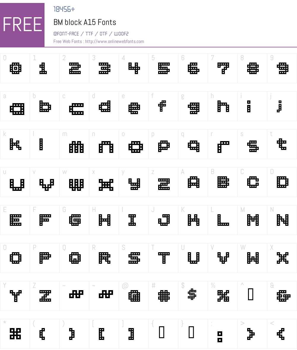 BM block Font Screenshots
