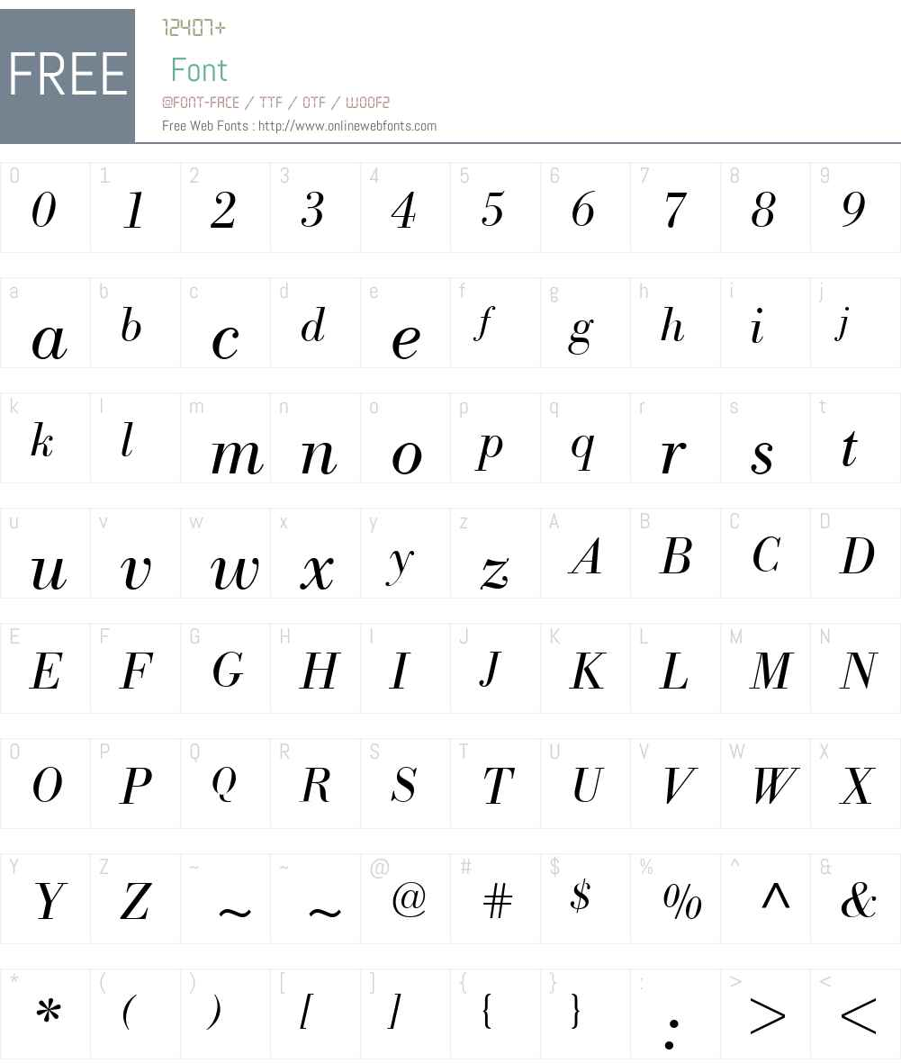 Bodoni BE Font Screenshots