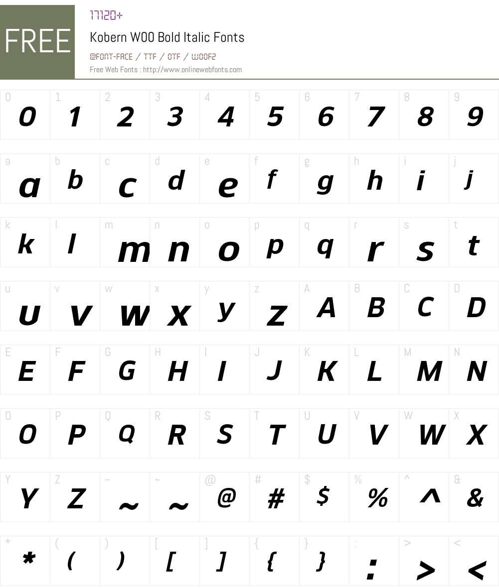 KobernW00-BoldItalic Font Screenshots