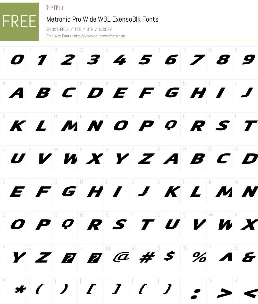 MetronicProWideW01-ExensoBlk Font Screenshots