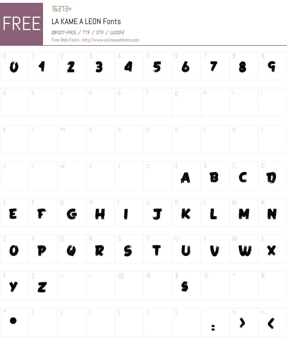LA KAME A LEON Font Screenshots