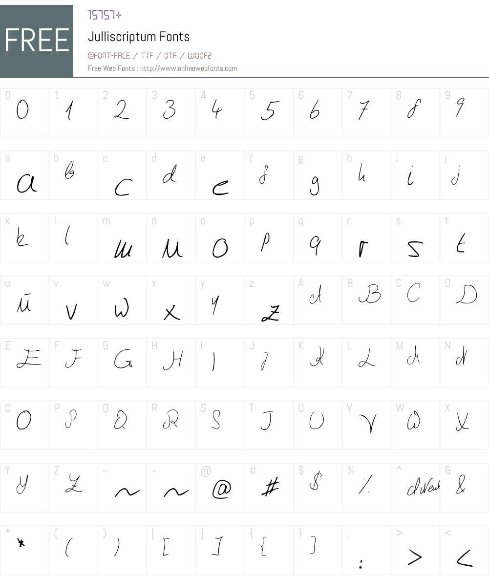 Julliscriptum Font Screenshots