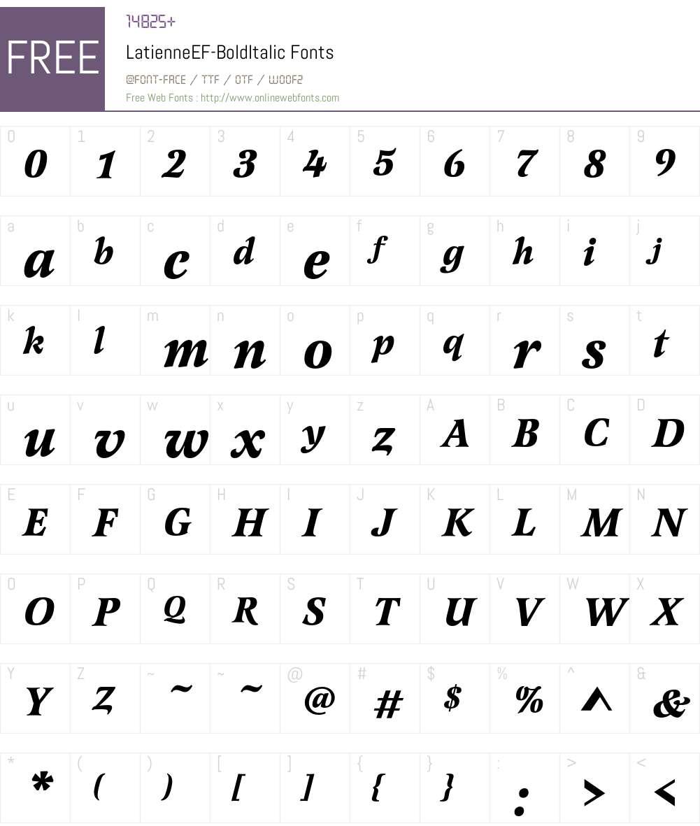 LatienneEF-BoldItalic Font Screenshots