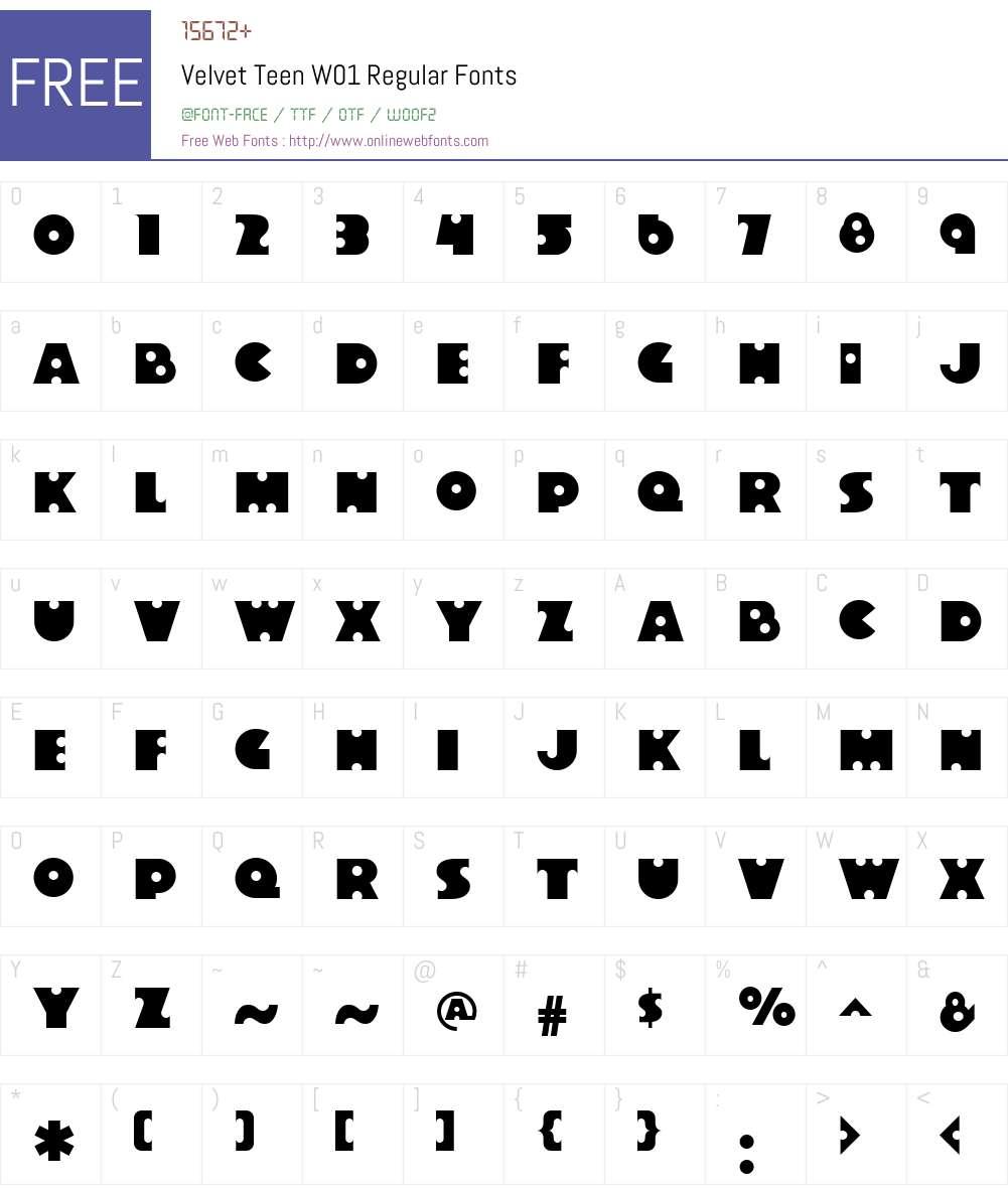VelvetTeenW01-Regular Font Screenshots