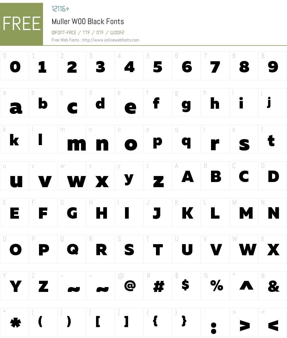 MullerW00-Black Font Screenshots