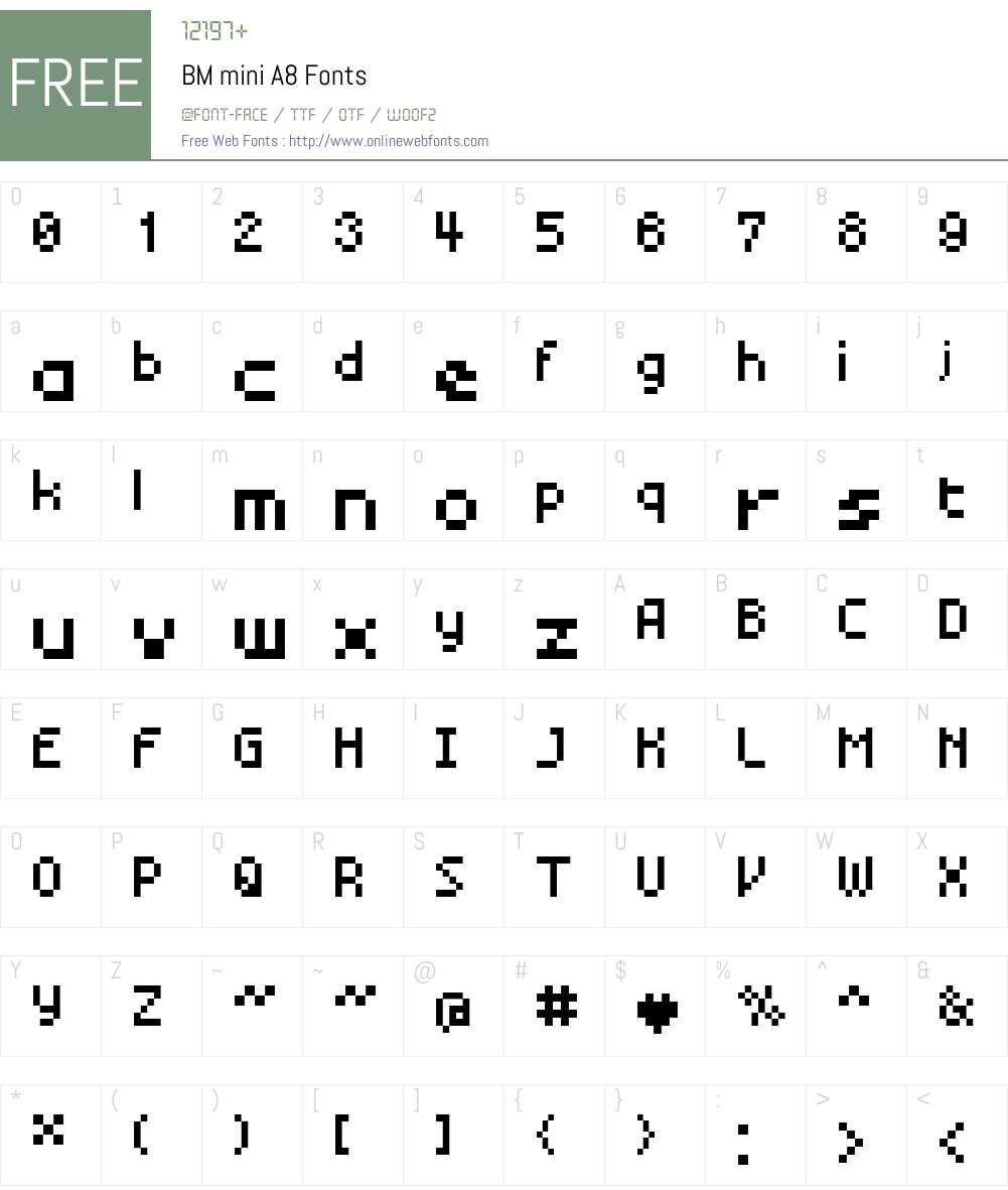 BM mini Font Screenshots