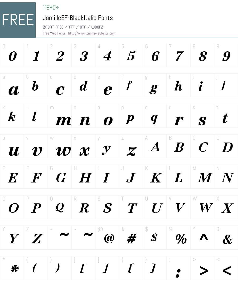 JamilleEF-BlackItalic Font Screenshots