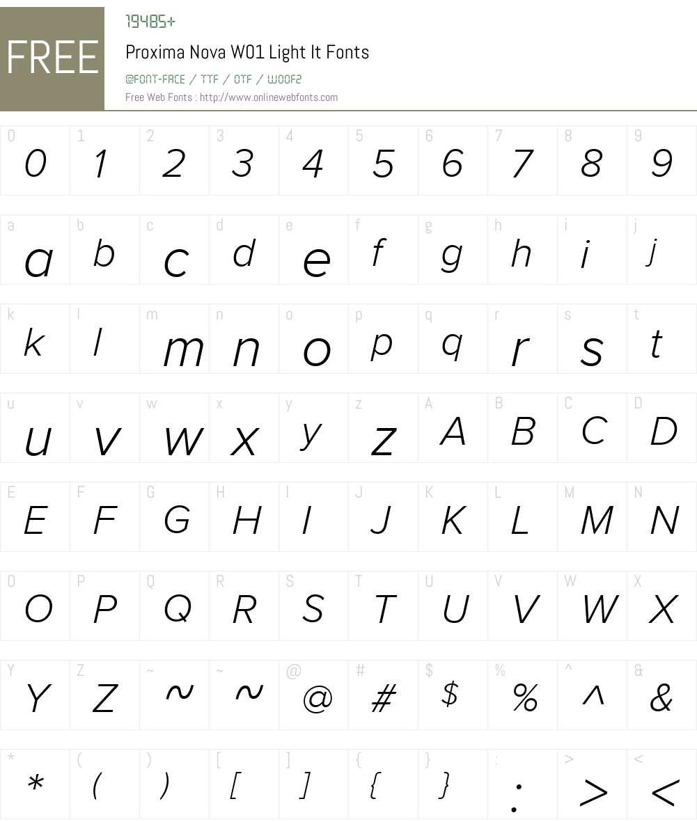 ProximaNovaW01-LightIt Font Screenshots