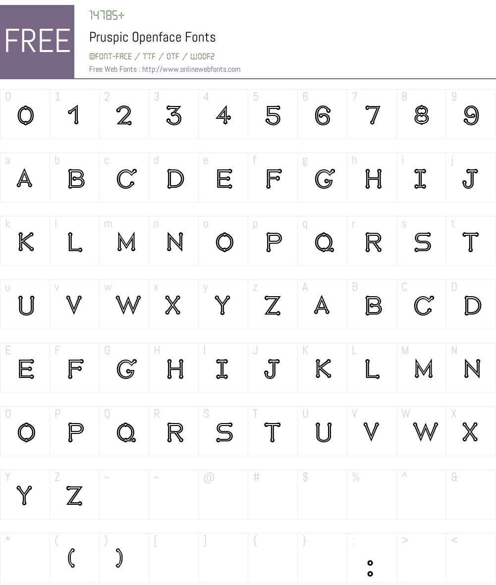 Pruspic Openface Font Screenshots