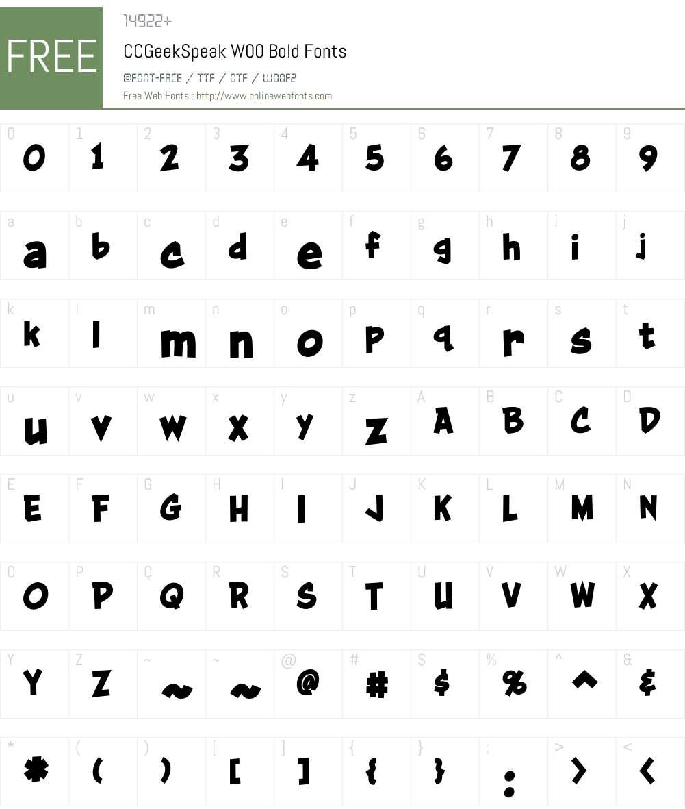 CCGeekSpeakW00-Bold Font Screenshots