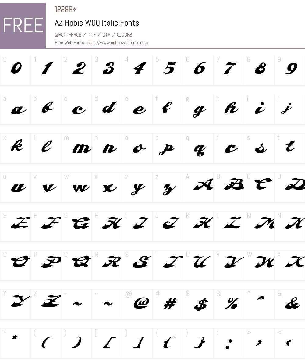 AZHobieW00-Italic Font Screenshots